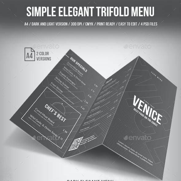 Simple Elegant Trifold Menu - 2 Color Version