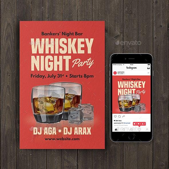 Whiskey Night Party Flyer & Instagram