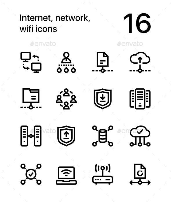 Internet, Network, Wifi Icons for Web and Mobile Design Pack 3