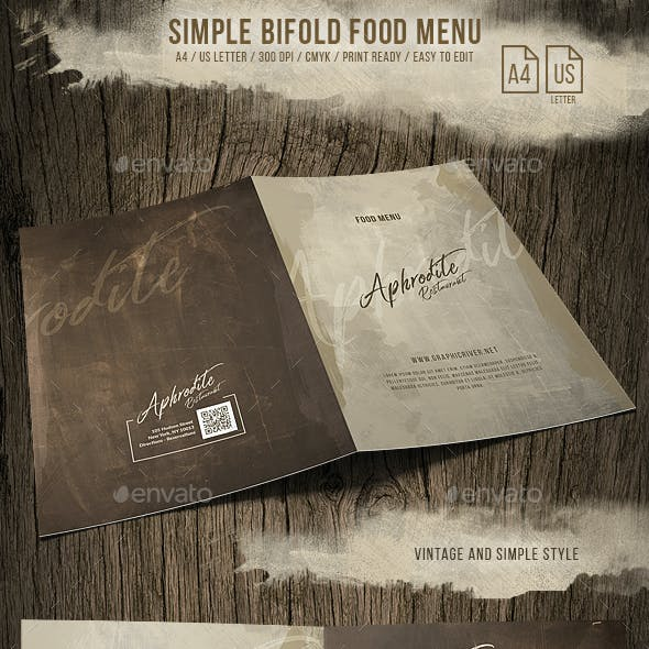 Simple Style Bifold Menu - A4 and US Letter