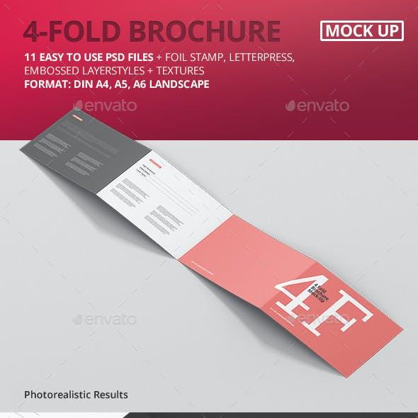 4-Fold Brochure Mockup - Din A4 A5 A6 Landscape