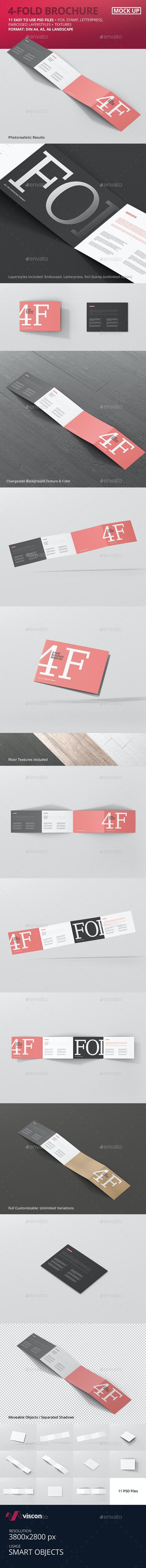 4-Fold Brochure Mockup - Din A4 A5 A6 Landscape - Brochures Print