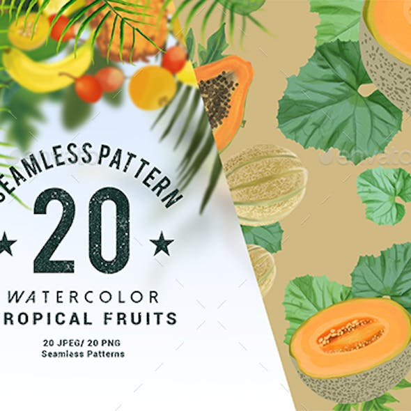 20 Watercolor Tropical Fruits Seamless Pattern
