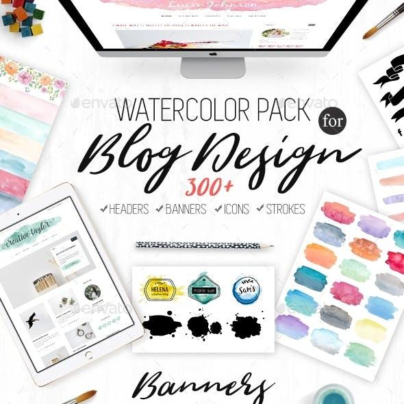 Watercolor Elements for Blog Design