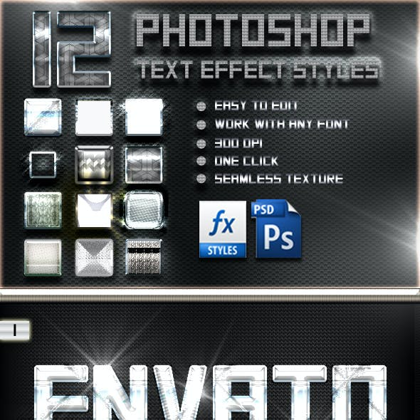 12 Photoshop Chorme Text Effect Styles V1