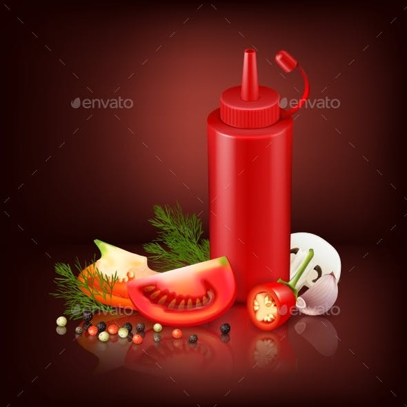 Realistic Background With Red Plastic Bottle