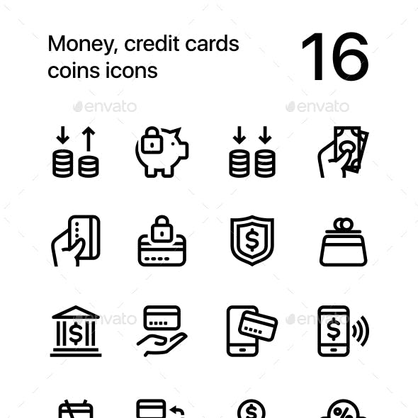 Money, Credit Cards, Coins Icons for Web and Mobile Design Pack 3