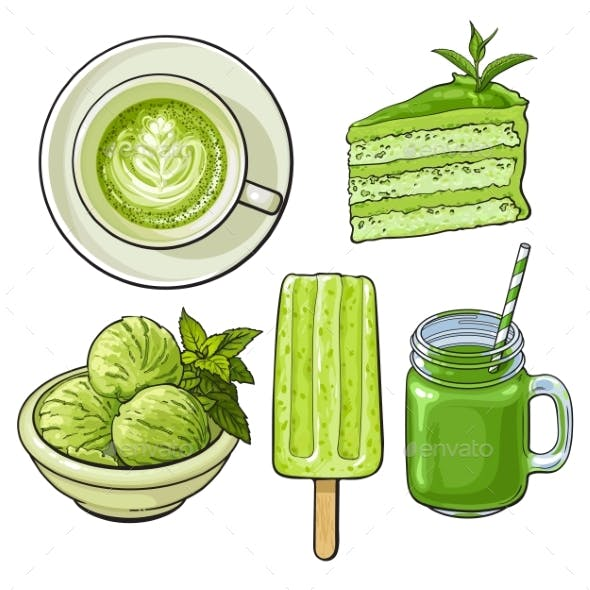 Hand Drawn Food with Matcha Tea - Ice Cream and Cake