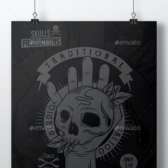 Skull Hand Tattoo Flyer