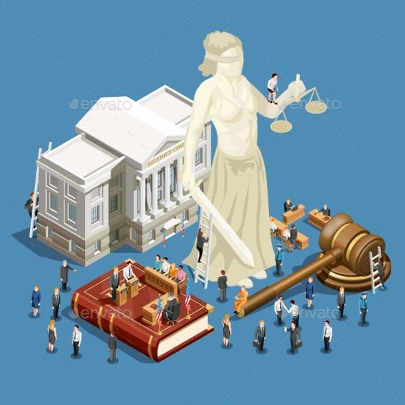 Law Isometric Icon