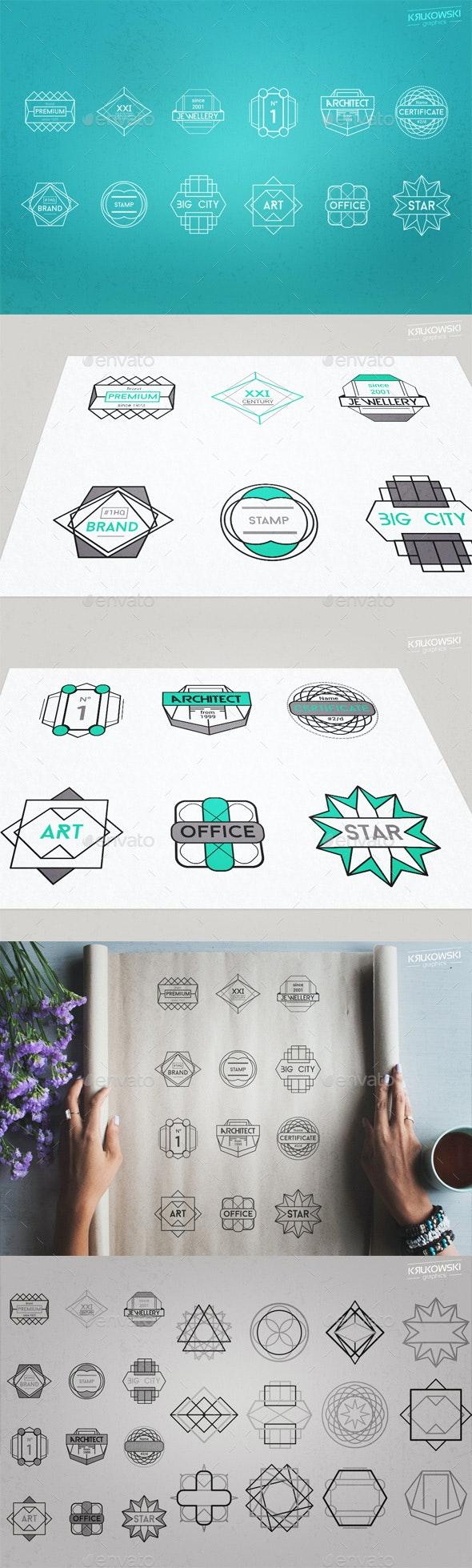 Geometric Vectors Badge Like Logos - Badges & Stickers Web Elements