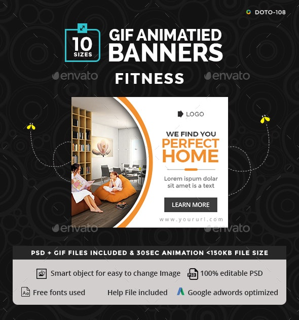 Real Estate Animated Gif Banner Set By Hyov Graphicriver