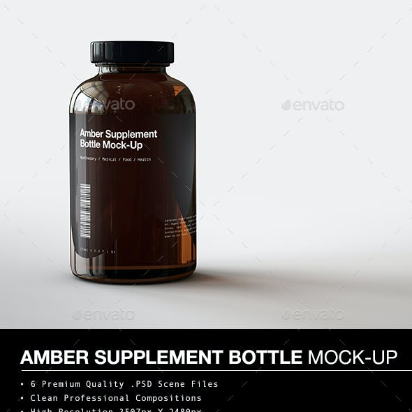 Amber Supplement Bottle | Vitamins Bottle Mock-Up
