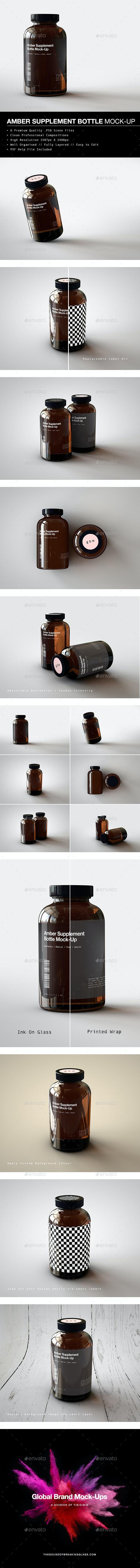 Amber Supplement Bottle | Vitamins Bottle Mock-Up