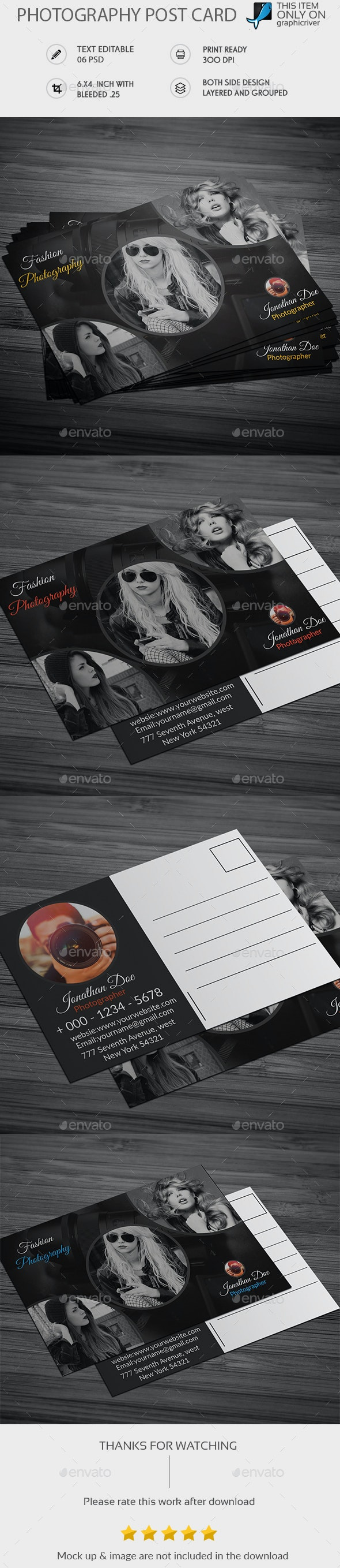 Photography Post Card - Cards & Invites Print Templates