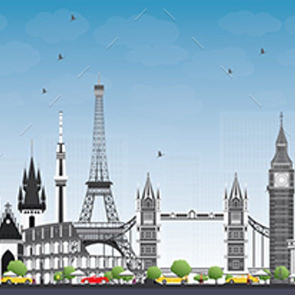 Famous Landmarks in Europe. Vector Illustration. Business Travel and Tourism Concept.