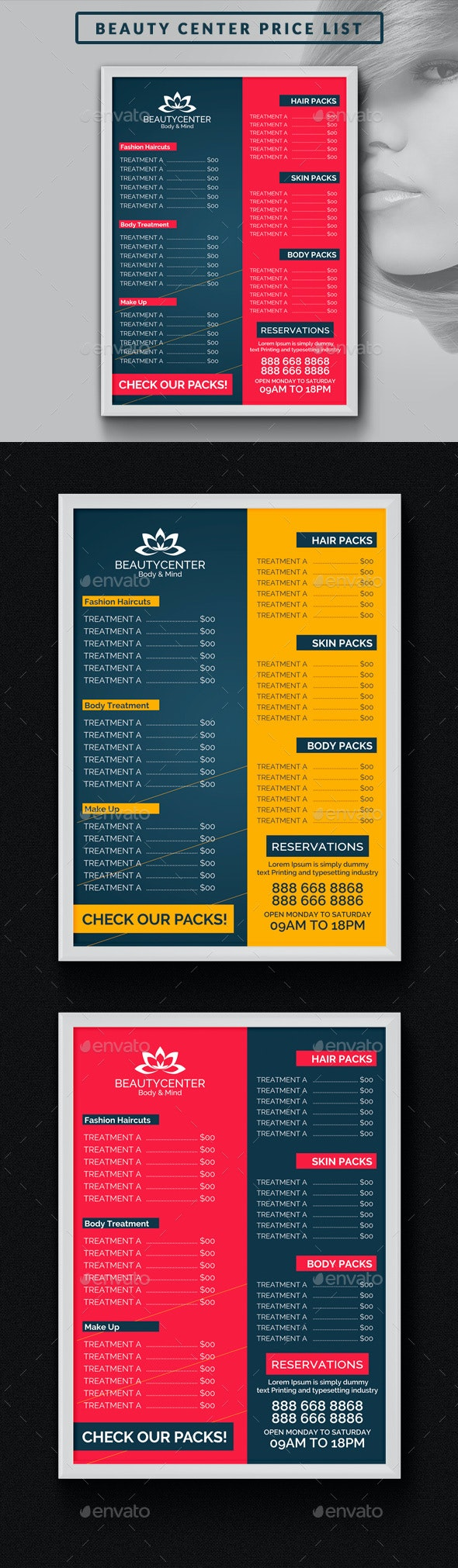 Beauty Center Price List Template - Miscellaneous Print Templates