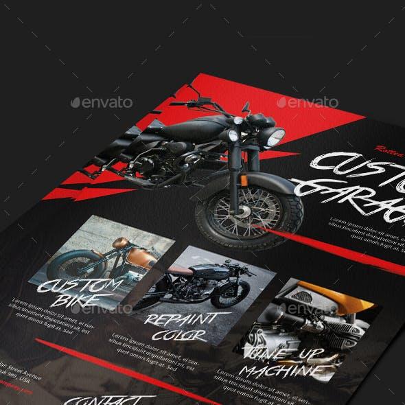 Motorcycle Custom Garage Flyer