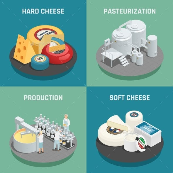 Cheese Production Isometric Icons Concept