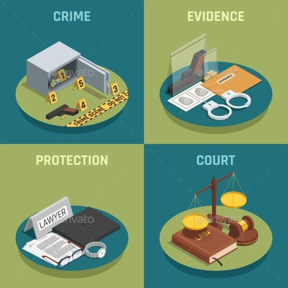 Law Justice Concept Isometric Icons