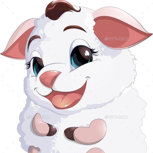 Lamb at the White Background