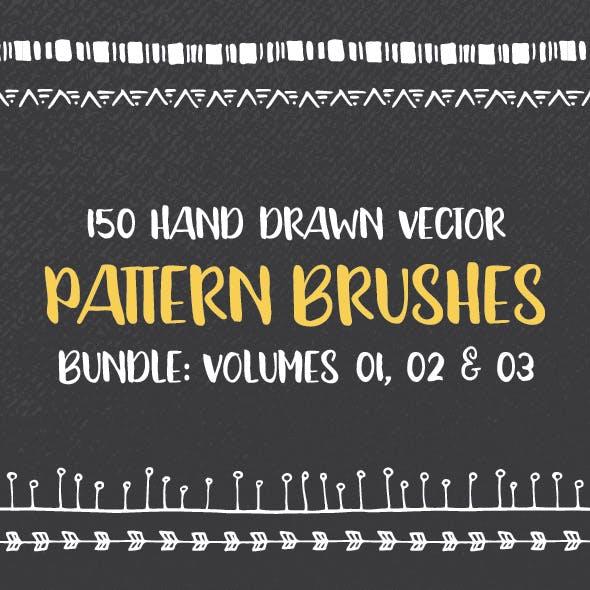 150 Hand Drawn Pattern Brushes Bundle - Volumes 01, 02 & 03