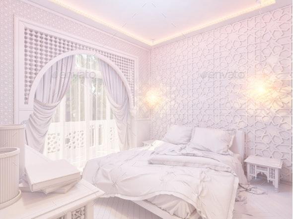 3d Render Bedroom Islamic Style Interior Design - Architecture 3D Renders