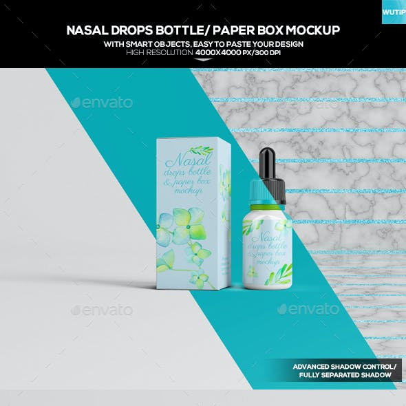 Nasal Drops Bottle/ Paper Box Mockup