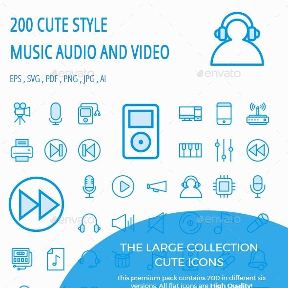 Music, Audio, Video Cute Style icon