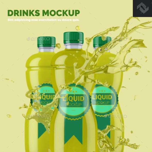 Clear Plastic Bottle Mockup Shape 3