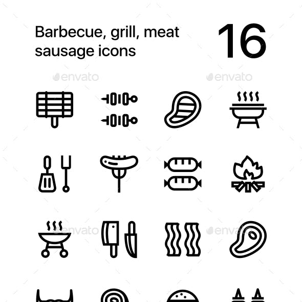 Barbecue, Grill, Meat Sausage Icons for Web and Mobile Design Pack 1