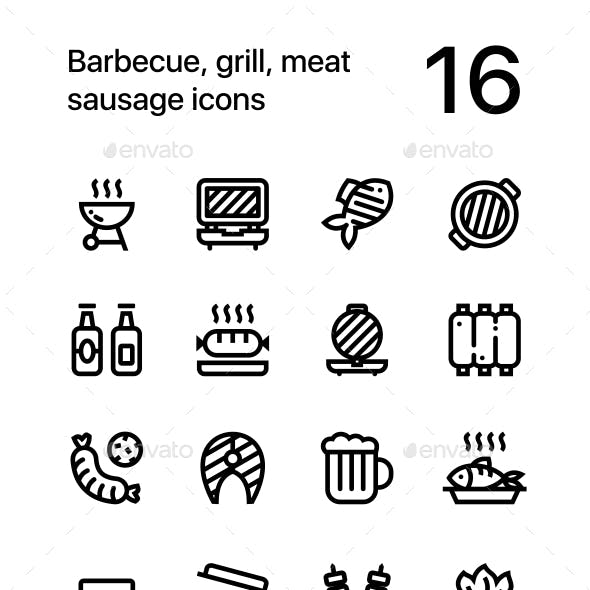 Barbecue, Grill, Meat Sausage Icons for Web and Mobile Design Pack 2