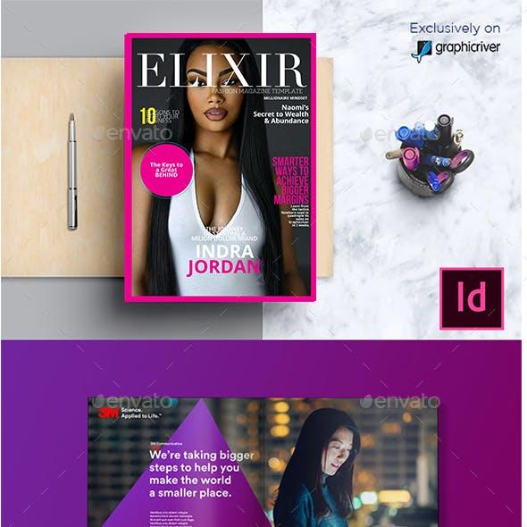 Elixir Fashion Magazine Indesign Template