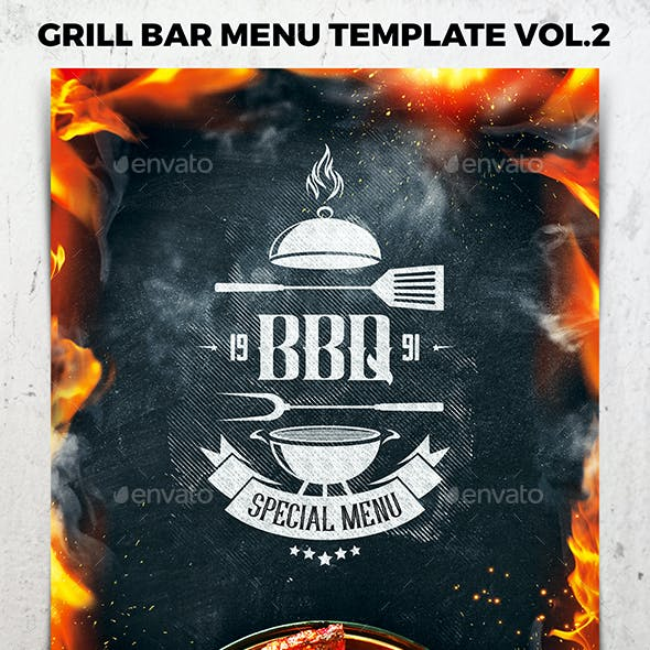Grill Bar Menu Template vol.2