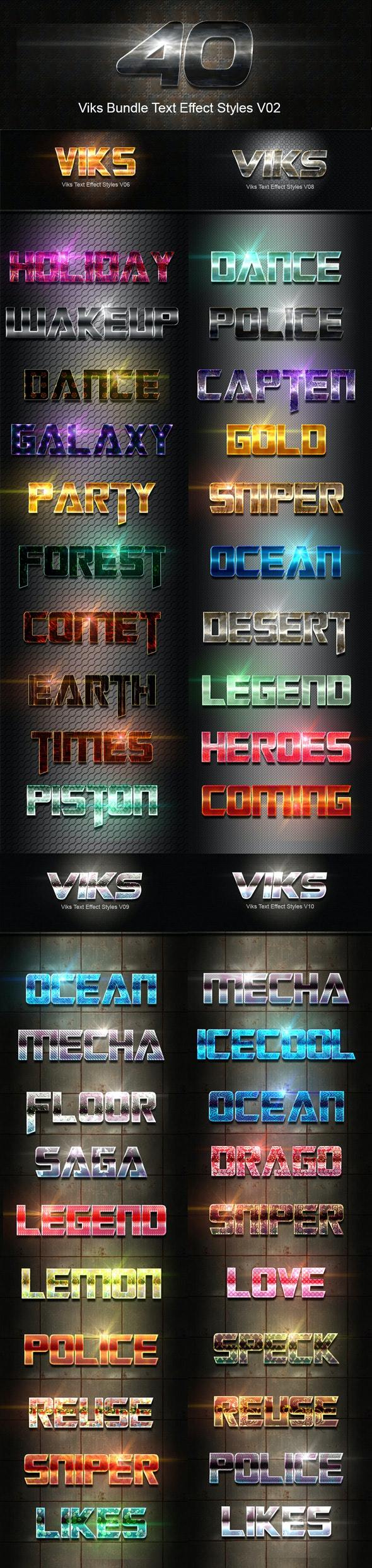 40 Viks Bundle Text Effect Styles V02 - Text Effects Styles