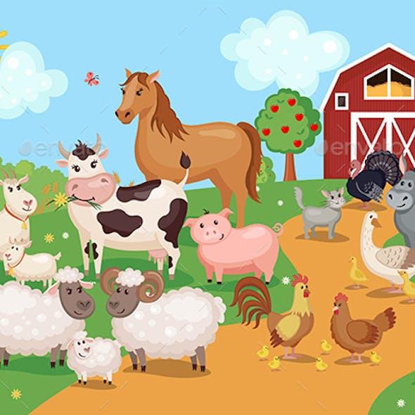 Farm Animals and Birds with Barn House.