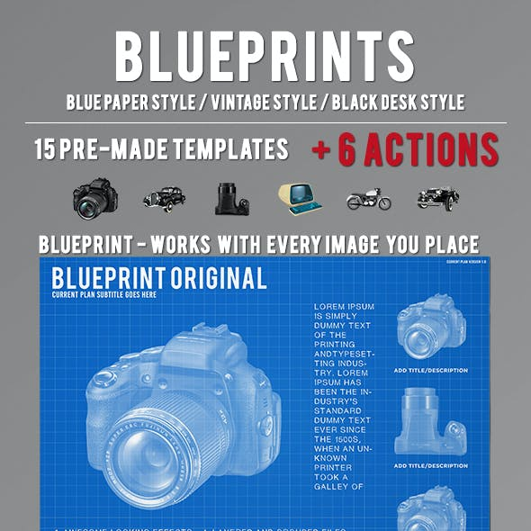 Blueprint, Vintage and Black Chalkboard styles + Actions