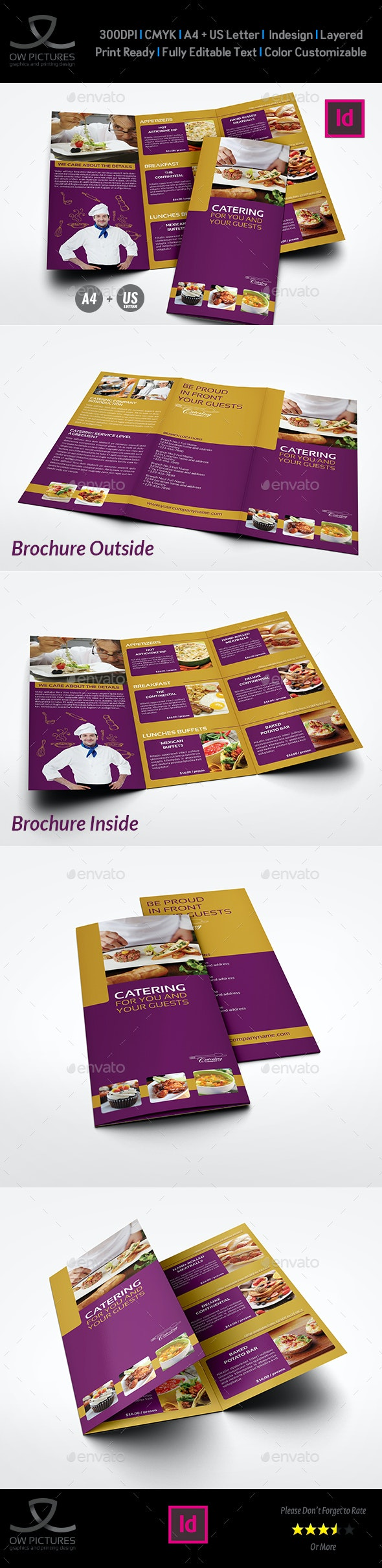 Catering Tri-Fold Brochure Template - Brochures Print Templates