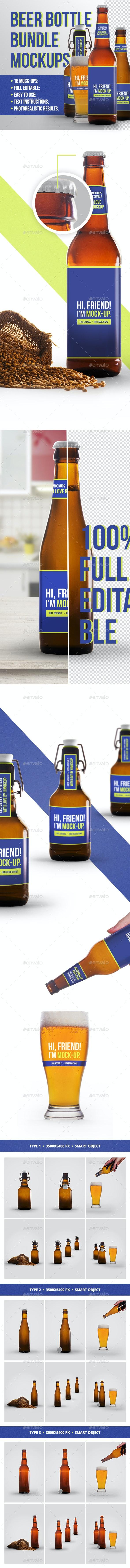 Beer Bottle Mockup Bundle - Food and Drink Packaging