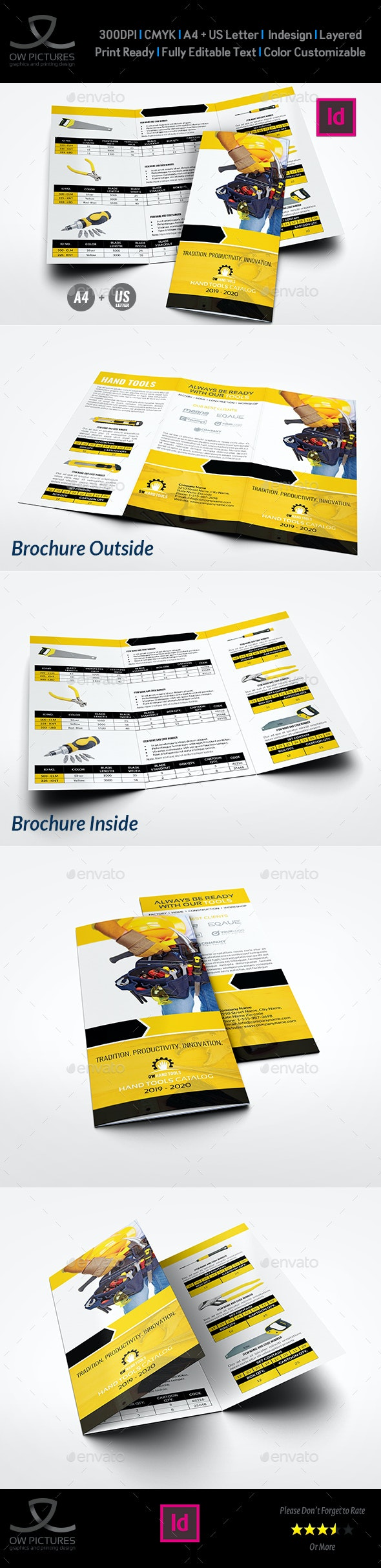 Hand Tools Products Catalog Tri-Fold Brochure Template - Catalogs Brochures