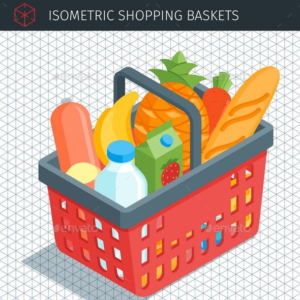 Isometric Red Plastic Shopping Baskets