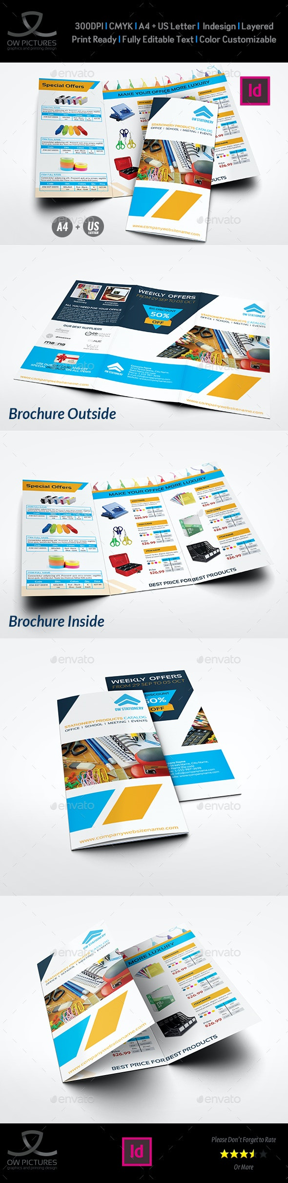 Stationery Products Catalog Tri- Fold Brochure Template - Catalogs Brochures