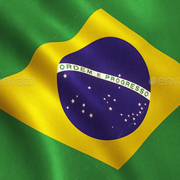 Brazil Flag Waving - Brazilian Texture