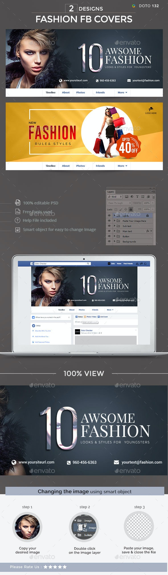 Fashion Facebook Covers - 2 Designs - Facebook Timeline Covers Social Media