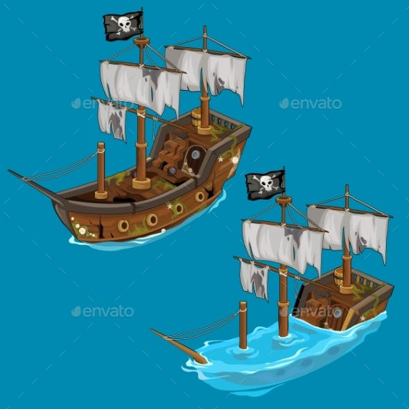 Old Classic Pirate Ship on Water and Flooded