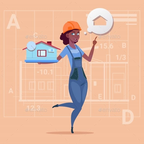 Cartoon Female Builder Holding Small House Ready