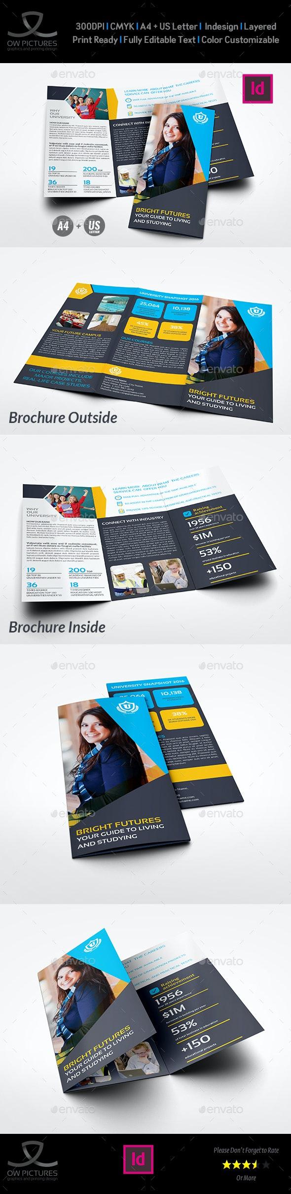 University - College Tri- Fold Brochure Template - Brochures Print Templates