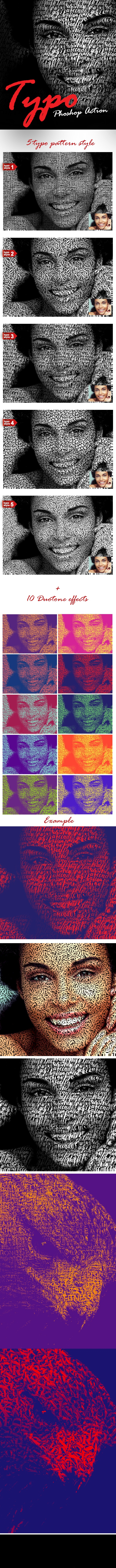 Typography Portrait Photoshop Action - Photo Effects Actions