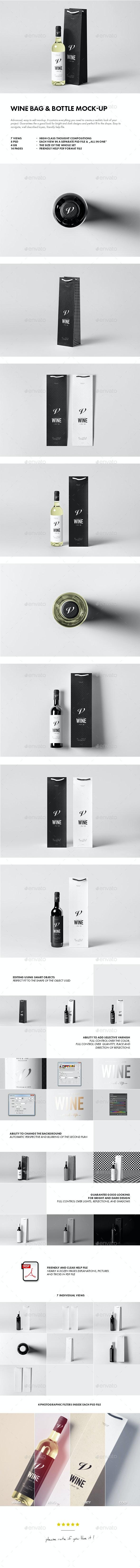 Wine Bag & Bottle Mock-up - Food and Drink Packaging