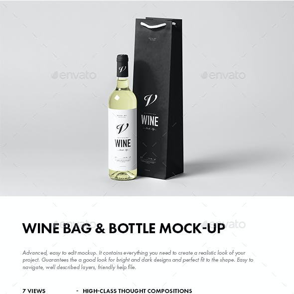 Wine Bag & Bottle Mock-up